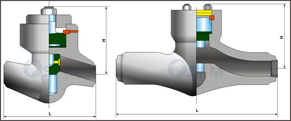 【用途】 焊接止回阀适用于公称压力PN20.0~32.0mpa,,工作温度:-540(其中P57 170V工作温度为-570)的石油、化工、水力、火力电站行业等各种系统的管路上。适用介质为:水、油品、蒸汽等。 【结构优势与特点】 1、焊接止回阀设计制造按E101和JB/T3595标准的规定,结构合理;性能优良,造型美观。 2、阀门中腔采用压力自紧式密封结构,介质压力越高,密封性能越好。 3、焊接止回阀支管两端为焊接结构,适应不同的接管要求。 4、阀瓣、阀座密封面采用司太立(STELLITE)钴基硬质合